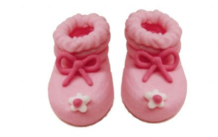 Pink Baby Booties Sugar Decorations